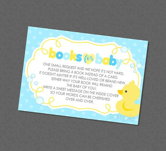 Sweet Rubber Duckie Books For Baby Baby Shower Book Insert