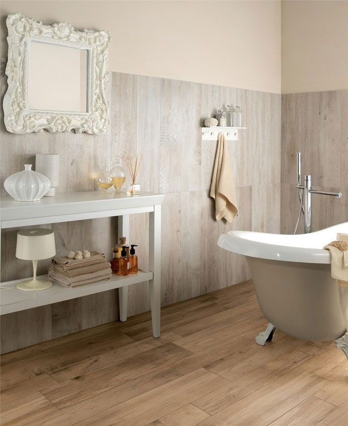 Superb Bathroom. Wood Tiles Bathroom. Varnished Wood Floor Tile Features Marble Wall  Tile And White Part 29