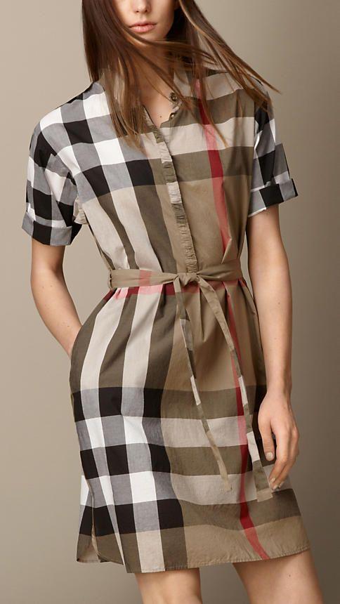 90cc2d49ea6 Tie-waist Check Shirt Dress