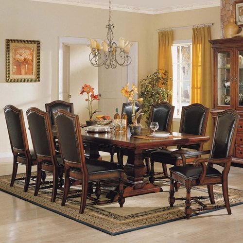 Ashford Trestle Dining Table U0026 Leather Chair Winners Only