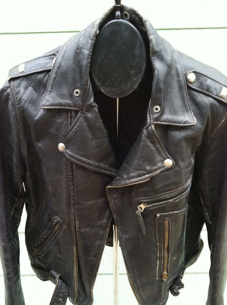 1be6691bfb99f BucO j-82 vtg leather biker jacket steerhide d pocket patina 50s ...