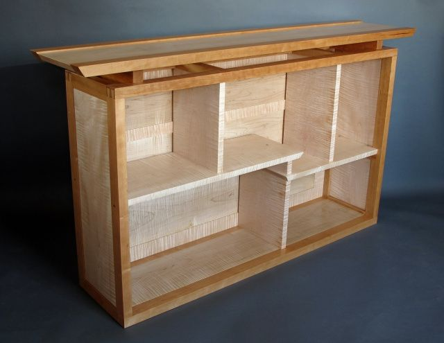 Bookcase, Display Cabinet, Bedroom Dresser Alternative. Soild Wood Shelving and Storage in Tiger Maple and Cherry.
