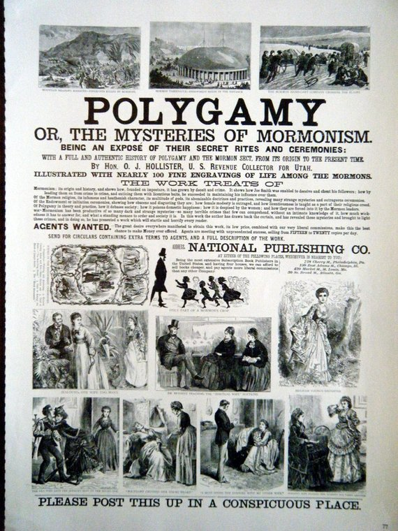 1800s Poster Polygamy or The Mysteries of Mormonism ...