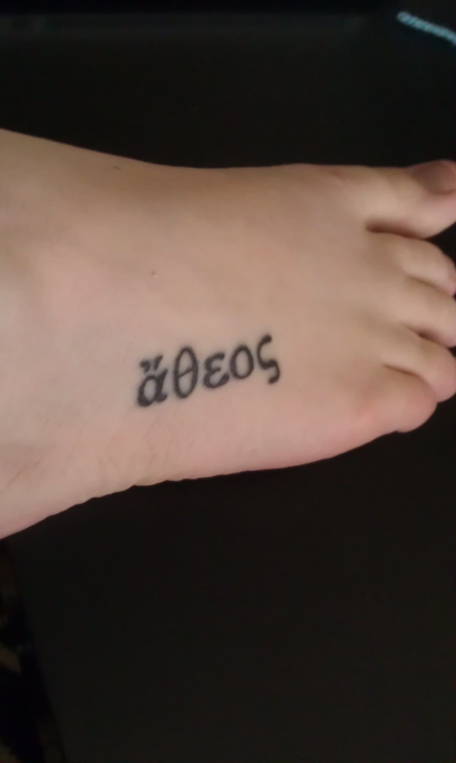 """""""Atheos"""" foot tattoo. Greek word meaning """"Without gods ..."""