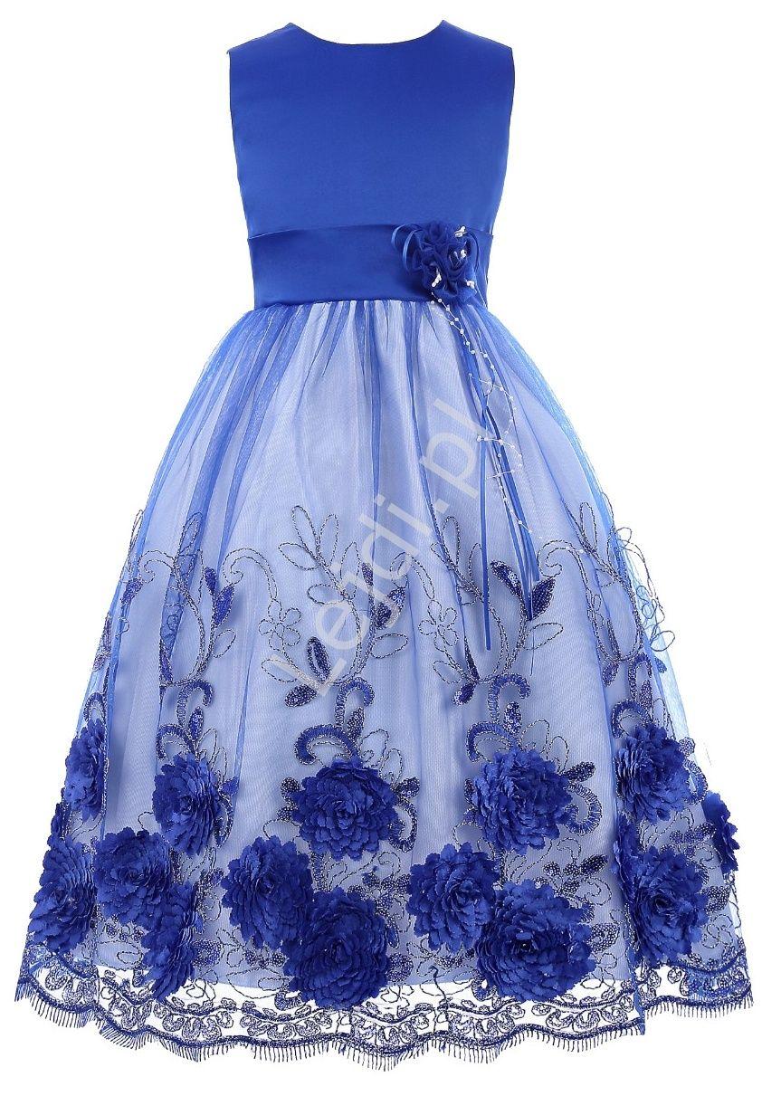 cc865d3679 Unikatowa chabrowa sukienka dla dziewczynki