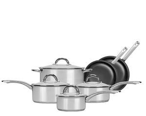 10 Piece Range Kleen Preferred Stainless Steel Cookware Set Offers Durability As Well Fast And Easy Clean Up