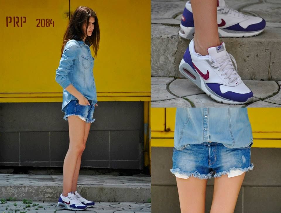 Love the combo denim on denim plus NIke AIR MAX tennis ... Causal perfection