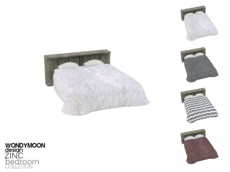 Zinc Bedroom Bed Blanket Found in TSR Category 'Sims 4