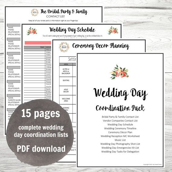 Wedding Day Coordination Worksheet Lists Pdf Wedding Planning