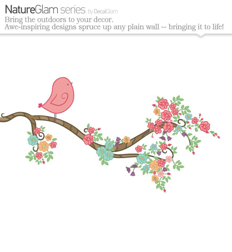 Girls Wall Decal   Bird On A Branch With Flowers  Nursery Decal Or Kids Room