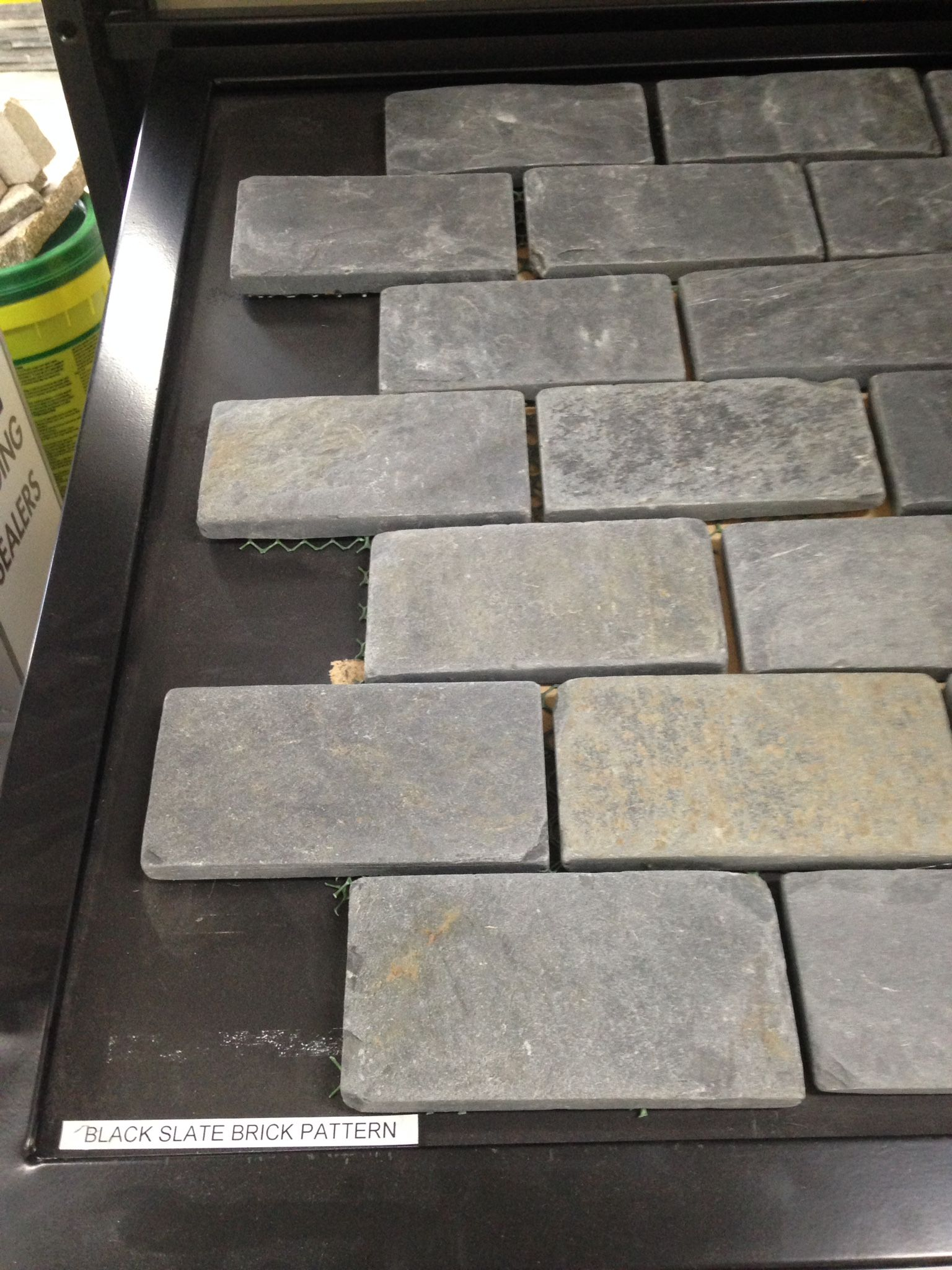 backyard flooring black slate brick pattern marble showroom