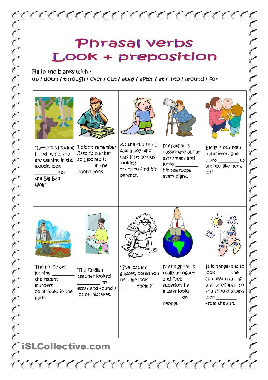 Phrasal Verbs Look Key Included Verb Grammar And Vocabulary Verb Worksheets [ 1440 x 1018 Pixel ]