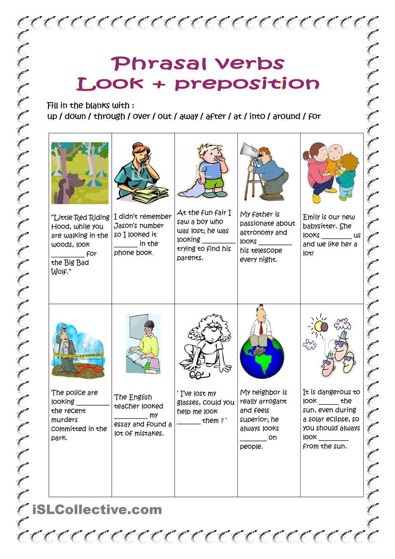 Phrasal verbs / look (key included) | Esl | Verb worksheets ...