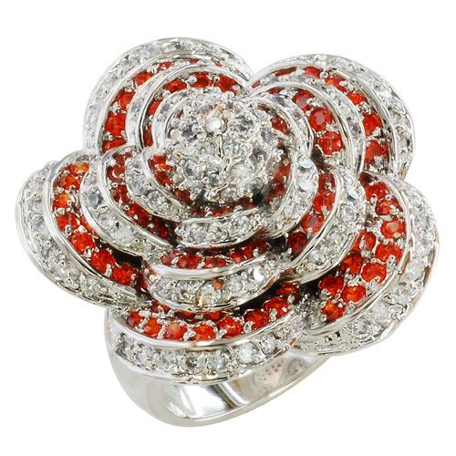 2012 silver plated with red crystal ring