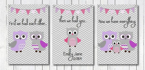 Beautiful set of three, pink, purple and grey owl prints available in sizes A4, A5 and 5x7 inches and printed onto heavy weight, gloss paper.