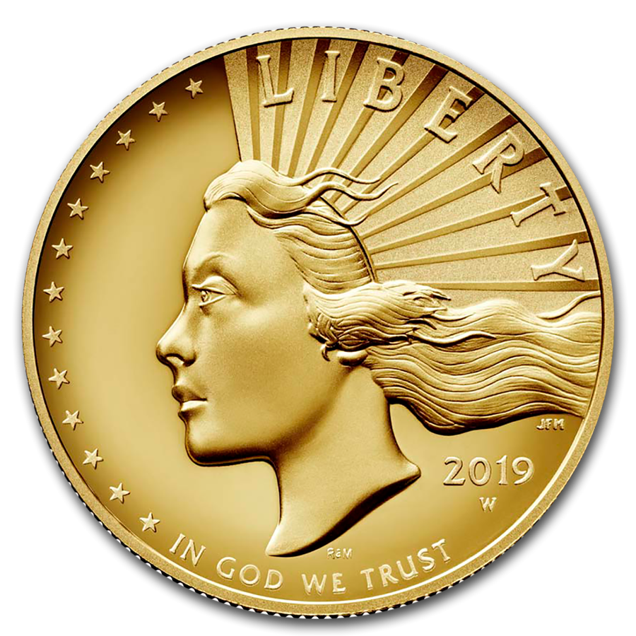 1 Oz 2019 W American Liberty 100 High Relief Gold Coin Gold Bullion Coins High Relief Gold Bullion