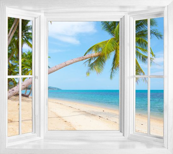 Tropical beach with coconut palm window frame wall sticker for Beach window mural