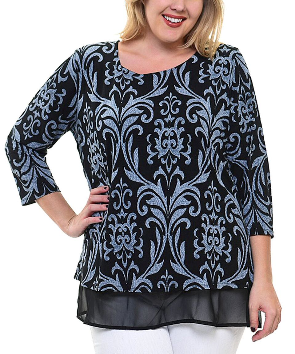 Another great find on #zulily! Black & Blue Miro Chiffon Tunic - Plus by Chris & Carol apparel #zulilyfinds