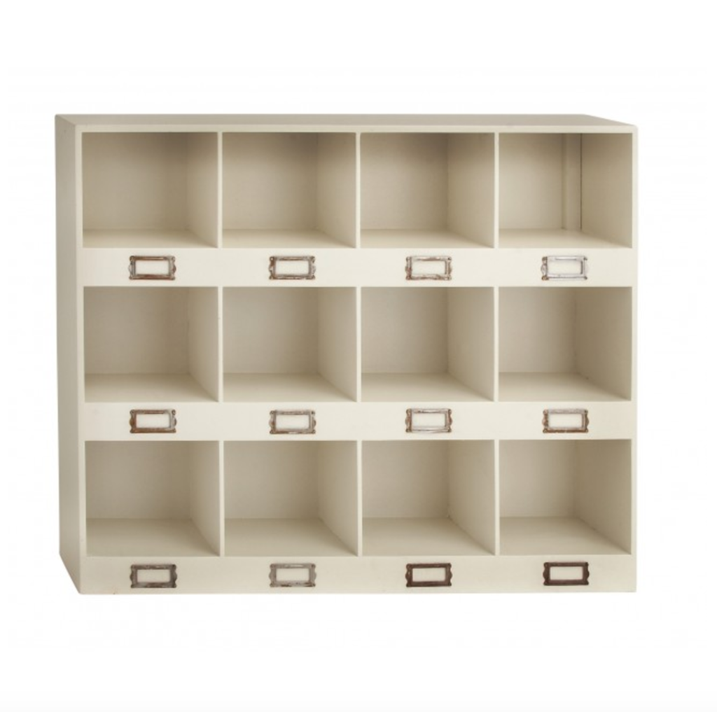 This organization station has 3 rows of four cubbyhole