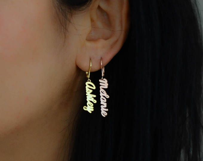 Name Earrings Plate Personalized Gold Custom