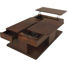 Modern Coffee Table W Double Lift Top Storage Furniture Brown