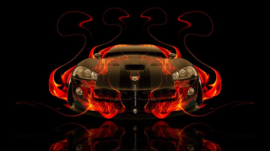 Charmant Dodge Viper SRT Front Fire Abstract Car 2014