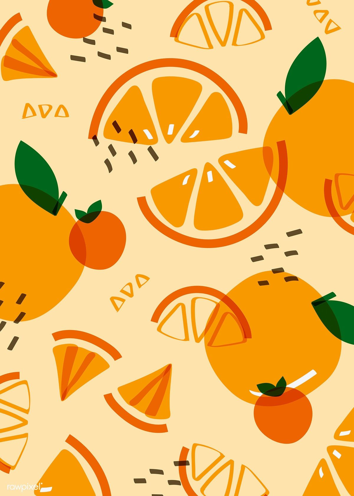 Download free vector of Tropical orange fruit pattern vector 845257
