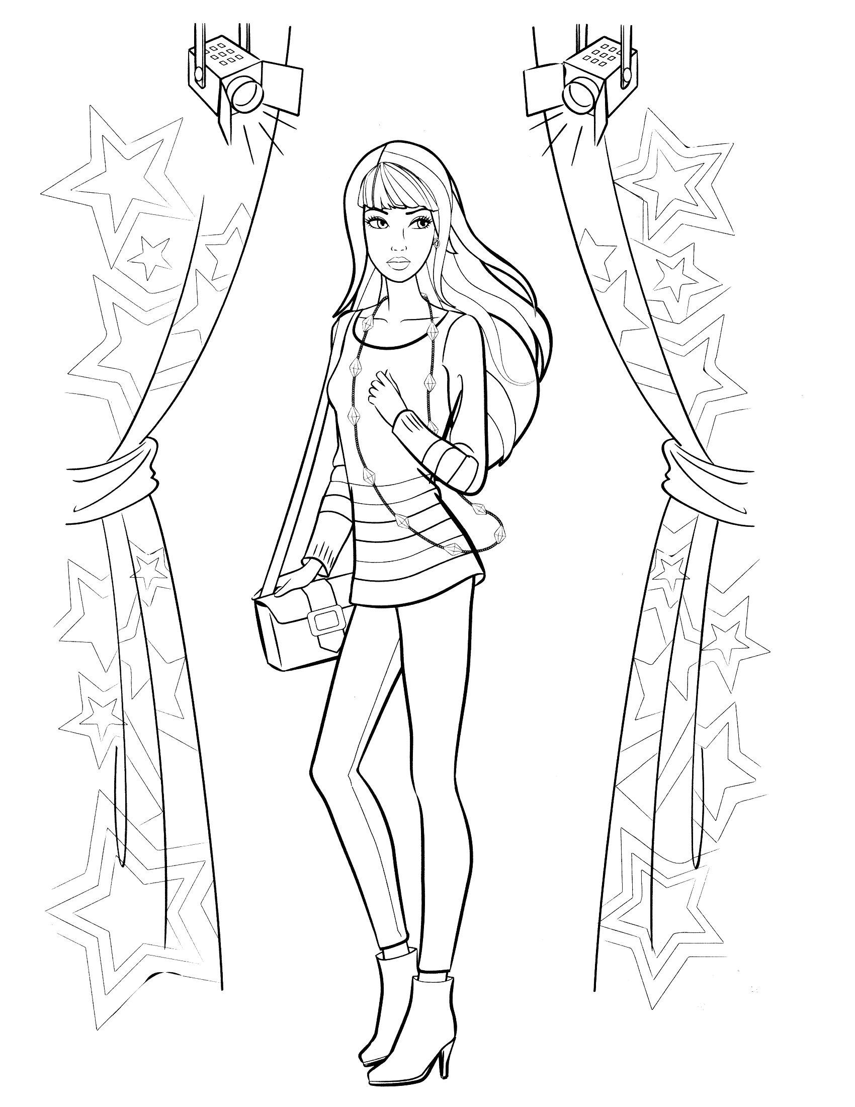 صور أزياء باربى مرسومة للتلوين الجزء الاول Barbie Coloring Pages Barbie Coloring Superhero Coloring Pages