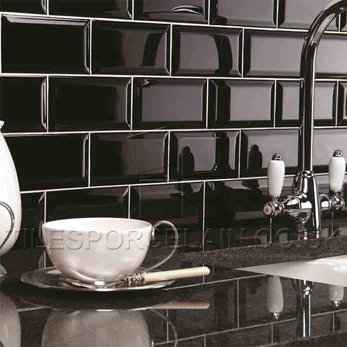 Kitchen Tiles Brick Style black metro tiles - 200 x 100mm - huge offer - fr £9.99 per m2