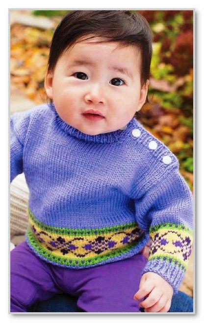 вязание спицами пуловер с жаккардовым мотивом и застежкой на плече