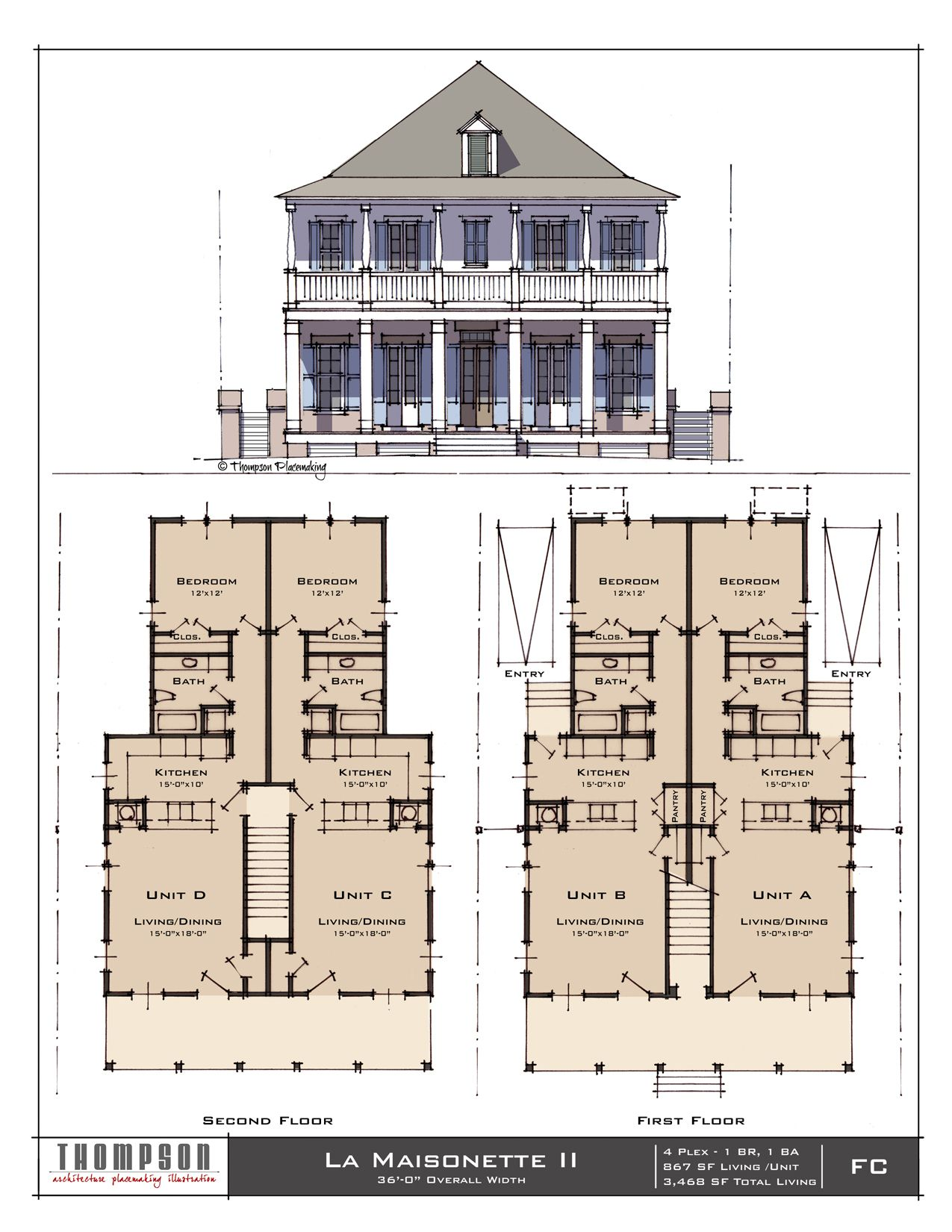 La Maisonette Ii 4 Plex Each Unit 1 Br 1 Bath 867 Sf Living 3 468 Sf Total Colonial House Plans Architectural Floor Plans Southern House Plans
