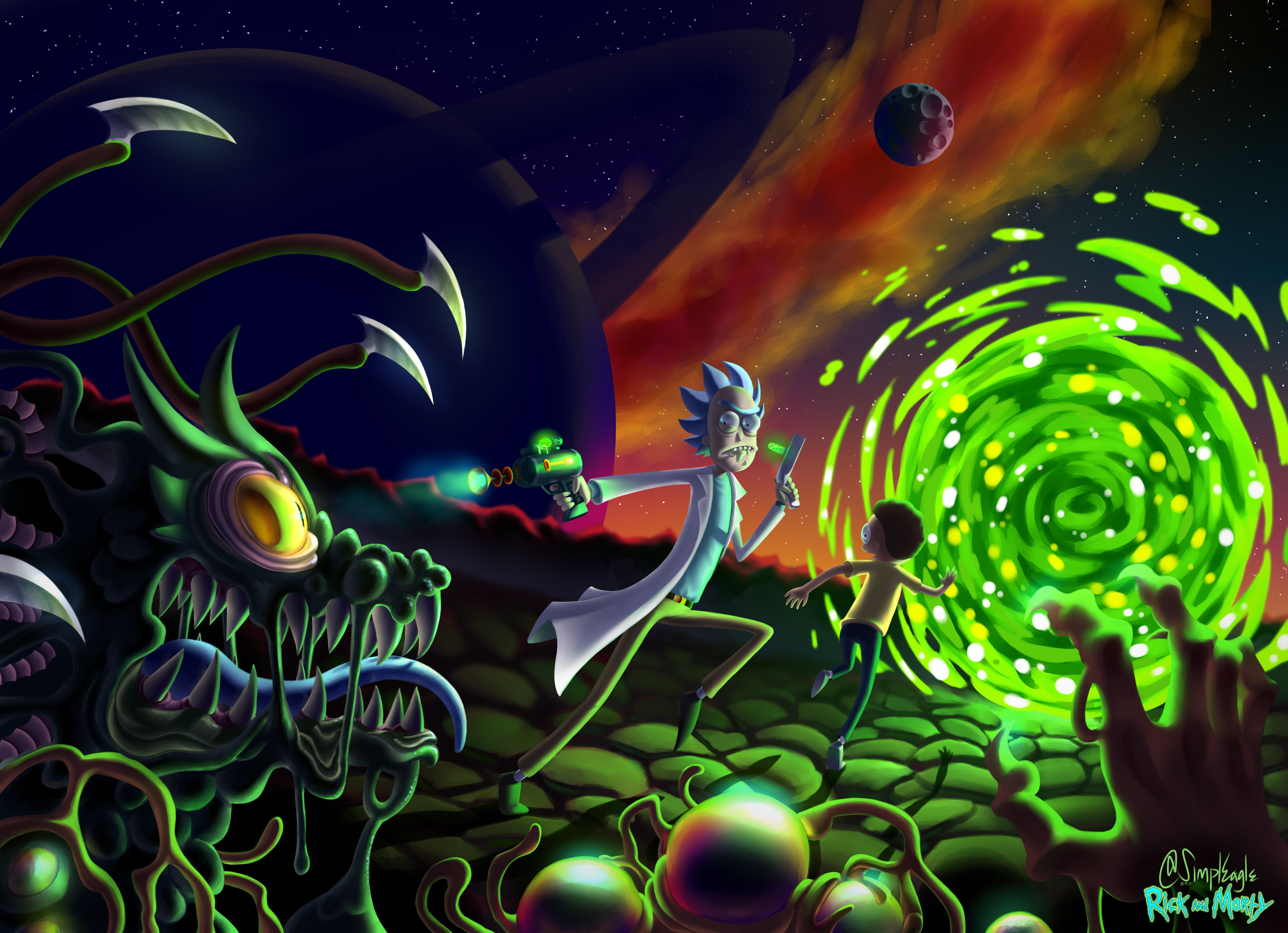 Rick And Morty 5k Fan Art By Ultra Hd Wallpaper 2018 Rick And Morty Poster Rick And Morty Stickers Rick And Morty