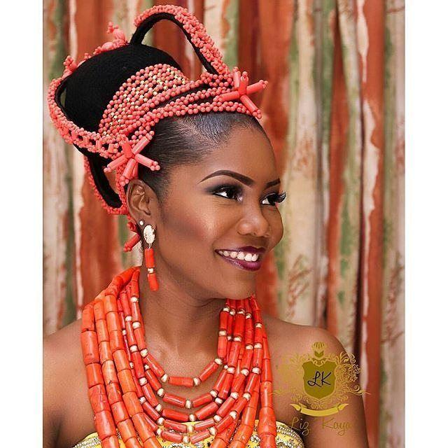 Edo bride look inspiration makeup @lizziea1 #edobridallook #instapic #beads #lippie #nigerianwedding #edobride #picoftheday