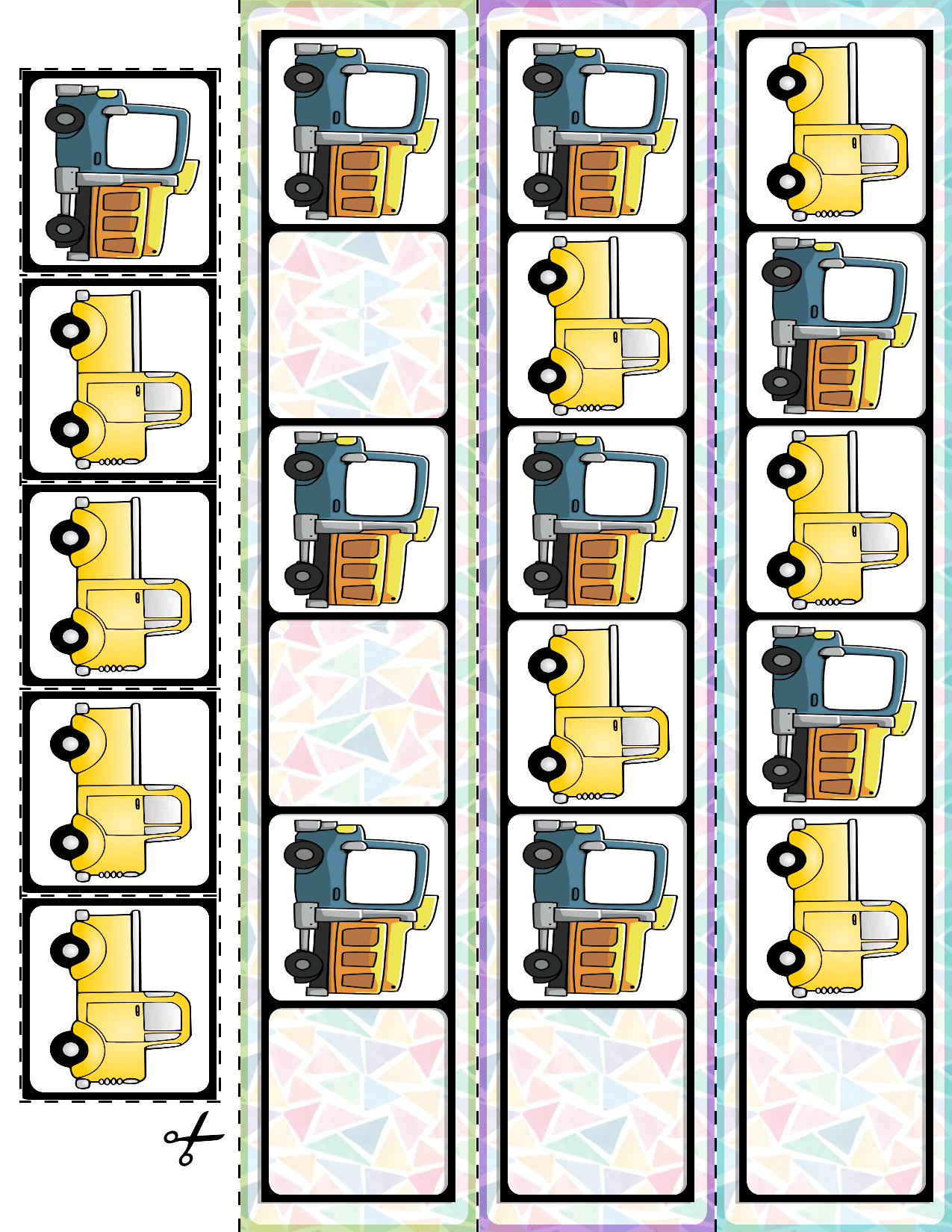 Transportation Vehicles Ab Pattern Cards