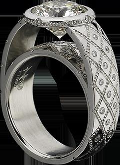Diamond Couture Ring in Cobalt Chromium Steel with Platinum Inlay