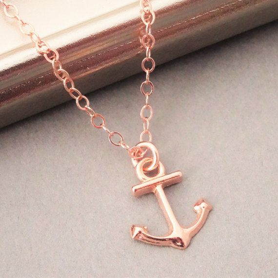 18K rose gold plated over Sterling silver anchor charm necklace on a 16K rose gold filled chain. A shiny 18K rose gold plated over 925 Sterling