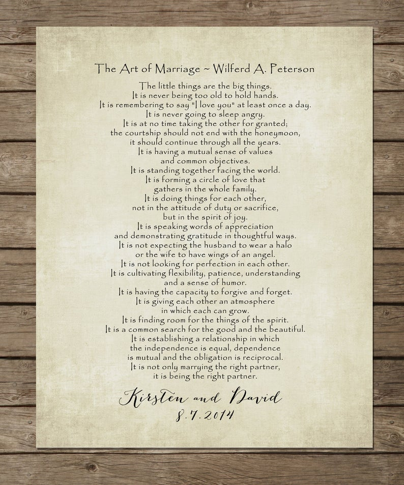 The ART Of MARRIAGE Poem Print, Personalized Wedding