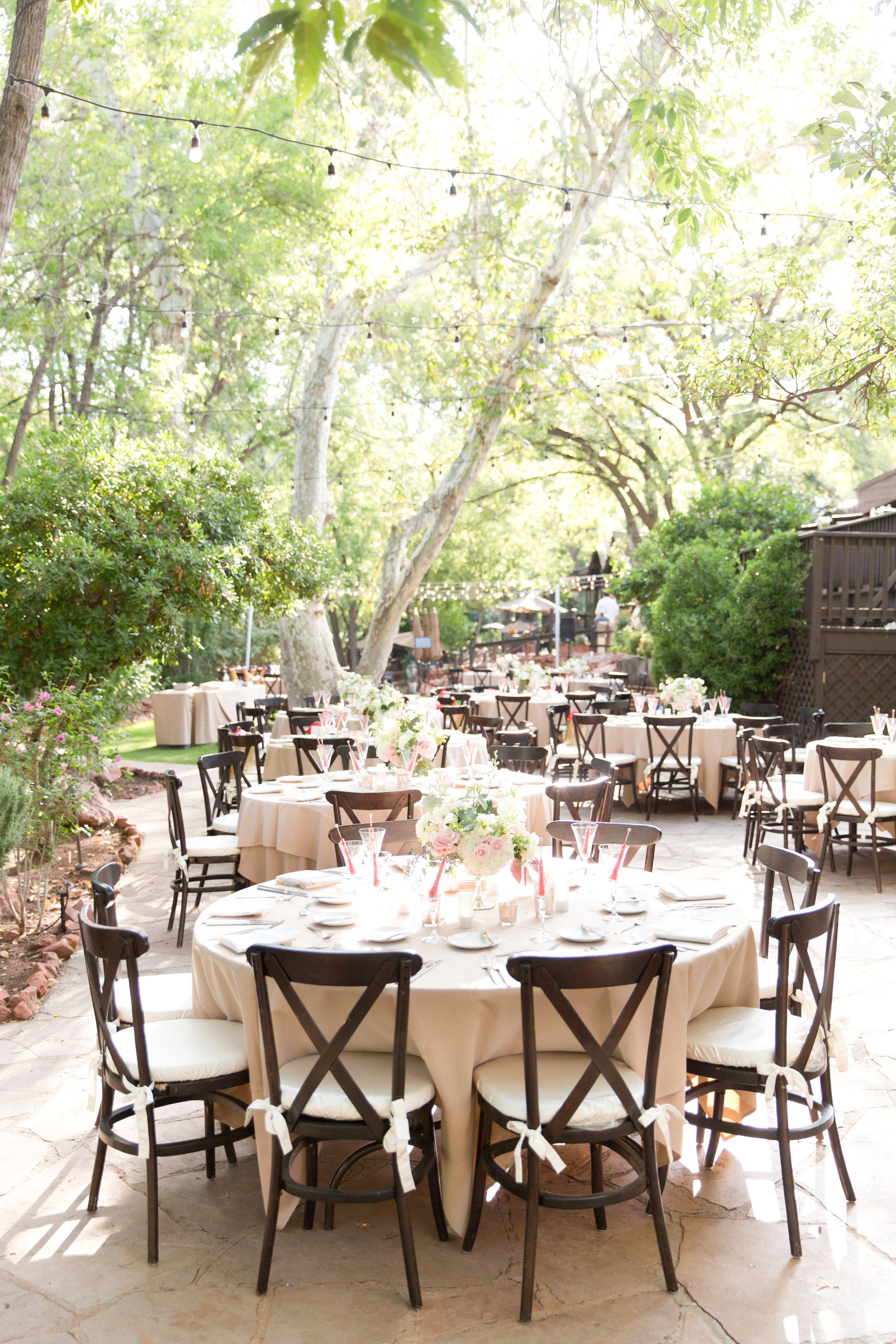 Outdoor Wedding Reception With Large Round Tables