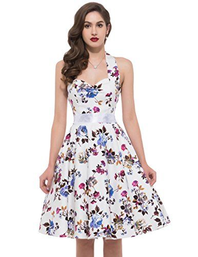 Grace KARIN Womens Halter Ball Retro Vintage Dresses White(XL ...