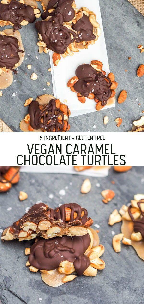 Photo of Vegan Caramel Chocolate Turtles – 5 Ingredient Recipe {GF}