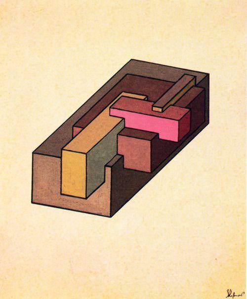 Iakov Chernikhov, Complex Configurations of Transparent Figures, 1927