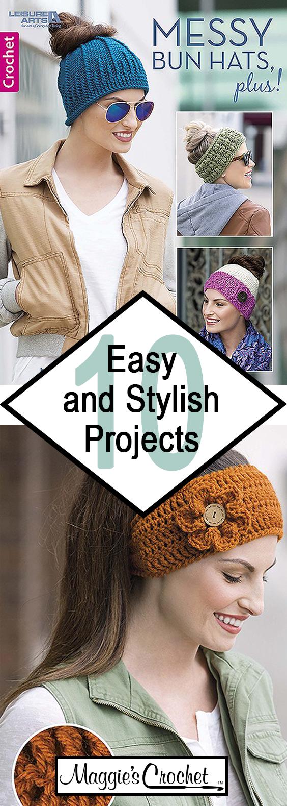 Messy Bun Hats Plus Crochet Pattern Leaflet #messybunhat
