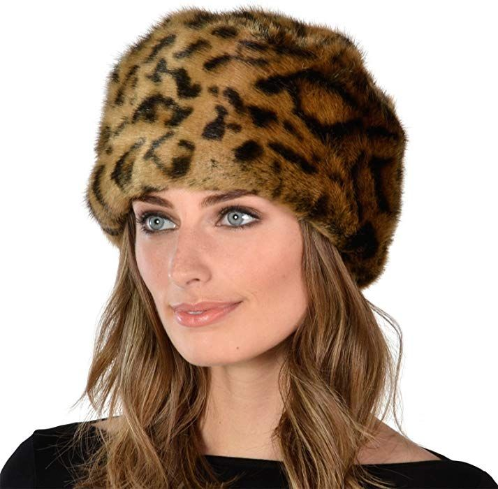 9792eaff Womens Leopard Print Stylish Faux Fur Russian Cossack Hat Winter Fashion  Warm: Amazon.co