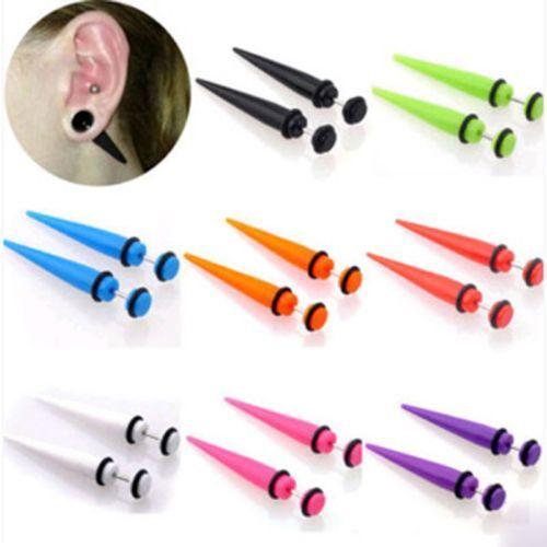 New Chic Illusion Ear Fake Cheater Stretcher Rivet Taper Plug Tunnel Gauges 2Pcs
