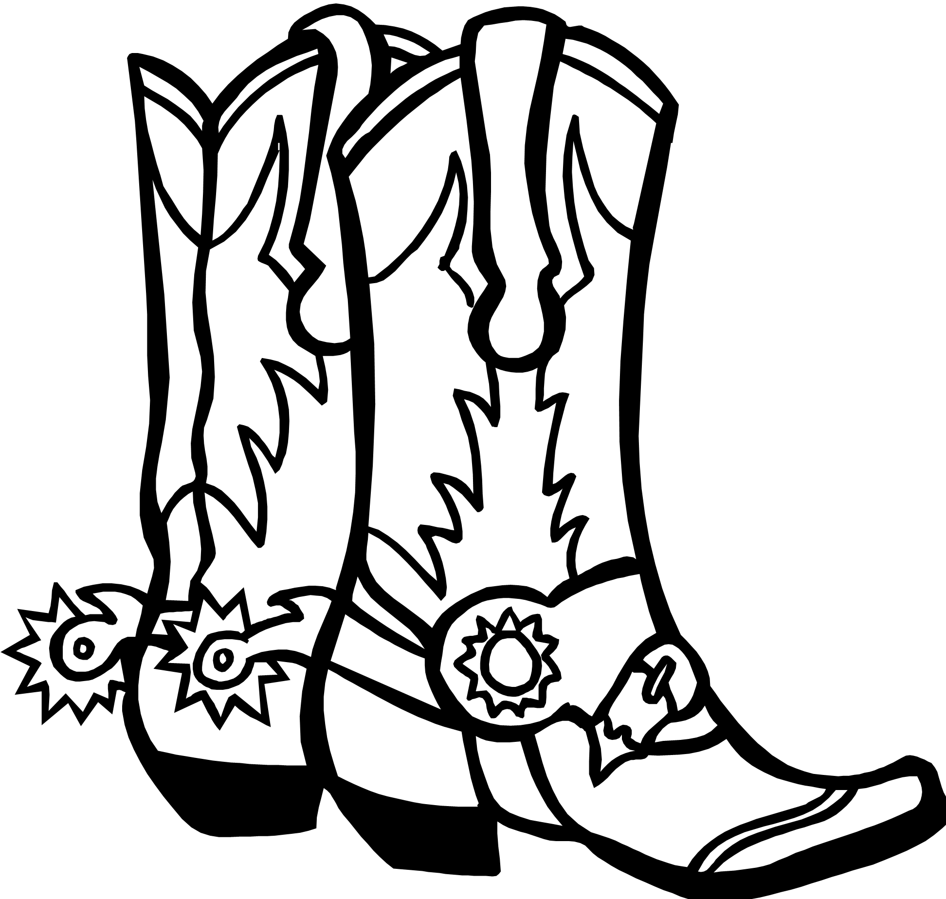 Drawings Of Cowboy Boots