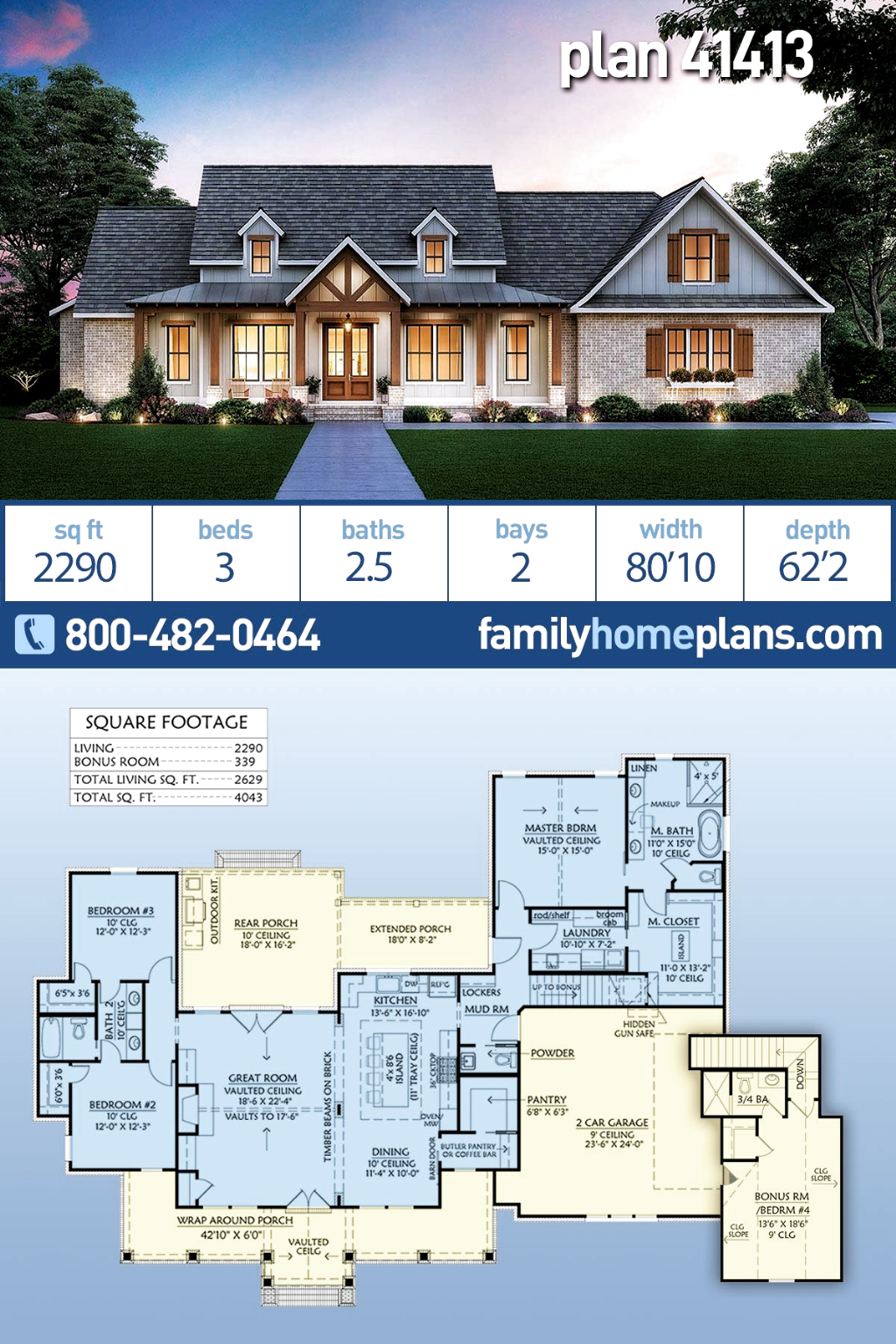 Elegant Farmhouse Home Plan With Just Almost 2300 Square Feet Of Heated Living Sp Craftsman Style House Plans Craftsman House Plans Farmhouse Style House Plans