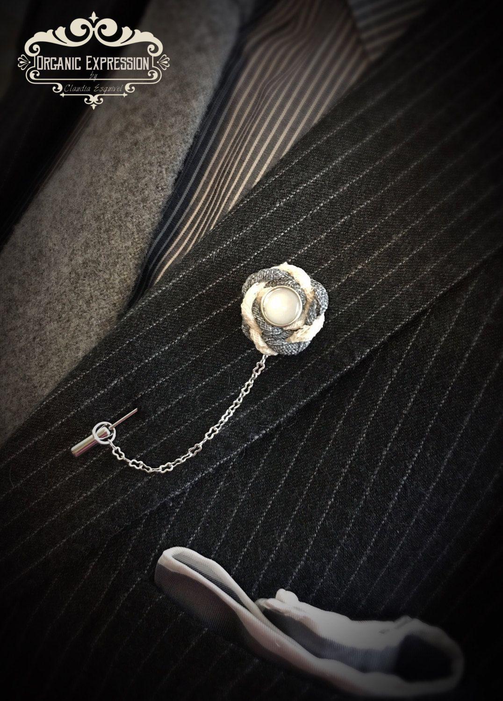 Nautical Denim Lapel Pin, Coat pin, Chain Lapel Pin, Daper