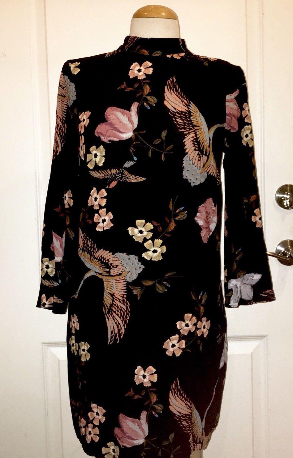 New Zara Black Long Sleeved Floral Bird High Neck Dress Xs Black Long Sleeve Fashion Dresses [ 1600 x 1026 Pixel ]