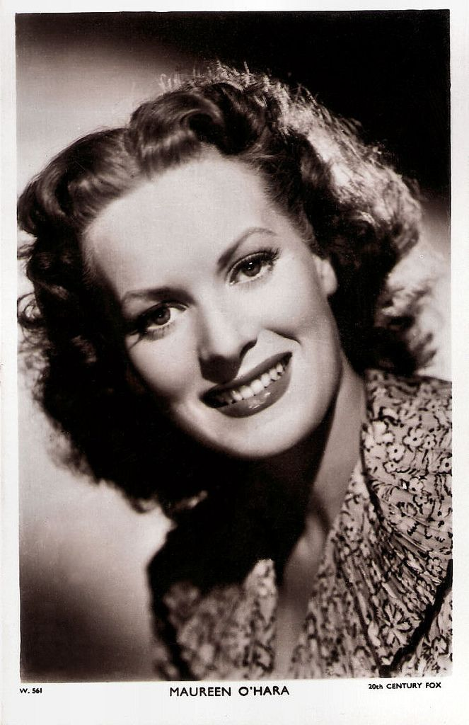 https://flic.kr/p/Afi4De | Maureen O'Hara (1920-2015) | British postcard in the Picturegoer Series, London, no. W 561. Photo: 20th Century Fox.  Last, Saturday, Irish born  Maureen O'Hara, one of the icons of Hollywood's Golden Age, has died. The feisty and fearless actress starred in John Ford's Oscar-winning drama How Green Was My Valley (1941), set in Wales, and Ford's Irish-set The Quiet Man (1952) opposite John Wayne. The famously red-headed actress  also worked successfully with…
