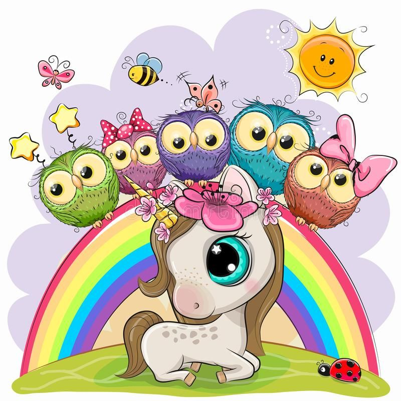 Cartoon Unicorn And Five Cute Owls Is Sitting On A Rainbow Vector